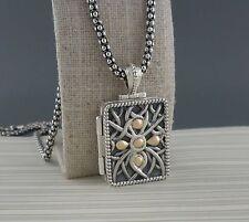 Sterling Silver & 10K Unisex Celtic Frame Locket Pendant KEITH JACK Jewelry