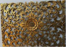 Pannello floreale in legno mdf traforato a mano cm 50x72 oro quadro dipinto