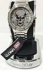 Marc Ecko Men's E11544G1 Skeletor Silver Stainless Steel Crystal Skull Watch New
