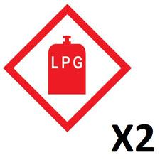 X2 LPG WARNING STICKER, CARAVAN, MOTORHOME - 100 mm x 100 mm