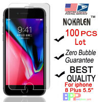 100x Wholesale Lot Tempered Glass Screen Protector for Apple iPhone 8 Plus 5.5""