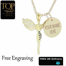 Womens Personalised Guardian Angel Pendant Name Necklace Gold Plated Elements UK