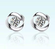 925 Sterling Silver Earrings Women Crystal Stud Studs Earring Fashion Flow UK