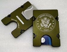 United States Army,  Aluminum Wallet/Card Holder, RFID protection, Green