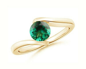 Round Shape 1.15Ct AA Natural Zambian Emerald Solitaire Ring In 14KT Yellow Gold