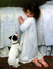 8x10 Print FORGIVE OUR TRESPASSES Bedtime Girl Praying Dog Jack Russell Terrier