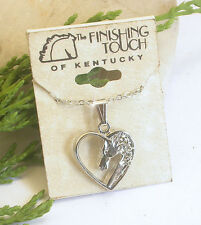 HORSE & WESTERN JEWELLERY JEWELRY LADIES HEART HORSE PENDANT NECKLACE SILVER