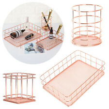 Rose Gold Storage Basket Metal Mesh Makeup Organizer Pen Holder Office Supplies