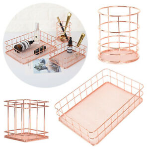 Rose Gold Storage Basket Metal Mesh Makeup Organizer Pen Holder Office Supplies