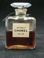 Vintage 1940s Chanel No. 5 Extrait Pure Parfum  0.50 Oz Approx. 50% Full