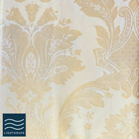 """Luxury Shimmering Ivory Gold 66"""" x 72"""" Curtains Pair Pencil Pleat Lined Floral"""