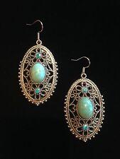 Earrings Silver Turquoise Hippie Bohemian Boho FiligreeTribal Vintage A1087