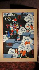 """20c CHINESE GOUACHE ON PAPER""""CHILDREN IN WINTER VILLAGE WITH LANTERNS"""",SIGNED"""