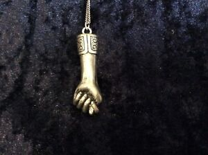 """BNWT Clenched fist pendant and chain, pewter, length 16"""", Urban Outfitters"""