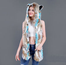 New Colorful Faux Fur Animal Ears Hat Gloves Mittens Long Scarf Snood Hood Paws