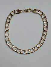 """9Carat (9ct) Gold Square Curb Link Bracelet - Yellow Gold - Solid- 8.5"""" - 14.82g"""