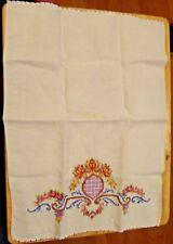 Vintage 1950's Kitchen Hand multicolor Hand Cross Stitch Flower and Swirls Towel
