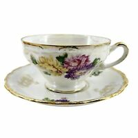 VTG Lusterware Pedestal Tea Cup & Saucer Iridescent Purple Yellow Chrysanthemums