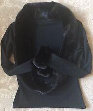 Bill Blass Black Mink Trimmed Wool Sweater Top~S~Gorgeous!