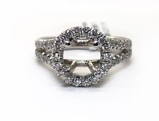18K Solid White Gold 1.0 Ct Natural Diamond Semi Mount Ring Center 7.5 MM Sq.