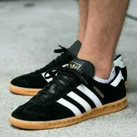 adidas Mens Originals Hamburg Suede Shoes Trainers in Black and White