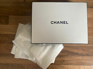 Chanel Empty Rectangular Gift Box with Tissue Paper White with Black