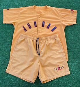 VTG 1992 Nike Air Jordan Baseball Jersey Shirt + Shorts Matching Set VII 90s L