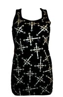 NEW GOTHIC CROSS WICCAN PRINT LONG VEST TANK TOP GOTH EMO HALLOWEEN