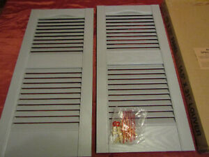 Open Louver Paintable Vinyl Shutters 14.5in. x 31in. (1 Pair)