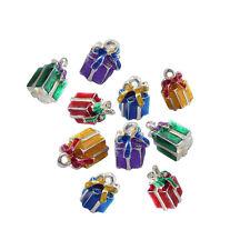 10pcs Enamel Gift Box Charms