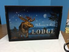 """Folk Art Style Wooden Serving Tray - Moose """"Welcome To The Lodge"""""""