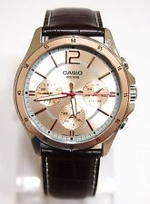Casio MTP-1374L-9 Analog Dress Mens Genuine Leather Band Rose Gold Watch New