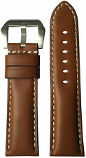 24mm XL RIOS1931 for Panatime Med Brown Leather Watch Strap for Panerai 24x22