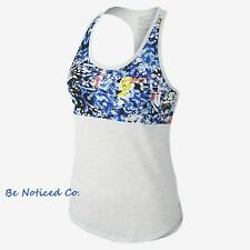 Nike Mujer running Camiseta Tirantes Jungla Paquete Talla S Blanco Gris Heather