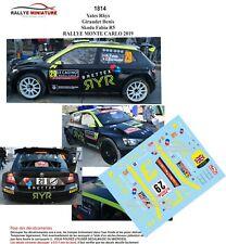 Decals 1/43 Ref 1814 Skoda Fabia R5 Yates Rally Mounted Carlo 2019 WRC Rally