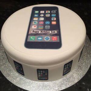 Black iPhone pre-cut Edible Icing Cake Topper or Ribbon