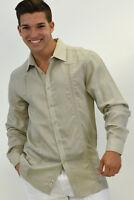 Men Bohio Linen Natural Guayabera Style Long Sleeve Shirt (S ~ 1XL)-MLS105