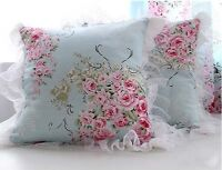Princess Girl Blue Pillow Cushion Cover* Lace French Country Cottage Shabby Chic
