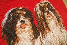 11.5' X 14' Vivid Pair of Shih Tzu Completed Handmade Needlepint Tapestry Canvas
