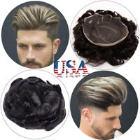 French Lace Man's Toupee Wig Replacement System Virgin Human Hair Free Part USA