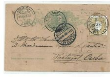 Portuguese INDIA 1/4 Tanga Card UPRATED with 2/4,5 Reis stamp 1902 -description!
