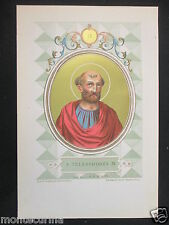 1879 SAN TELESFORO TELESPHORUS ANTICA STAMPA CROMOLITOGRAFIA PAPA POPE D246 m