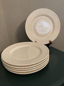 10 Strawberry Street White Porcelain Basket Weave Rim Dinner Plates Set Of (6)