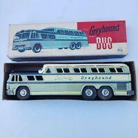 Vintage Tin Litho Friction GREYHOUND Scenicruiser Express Bus by Stone Japan