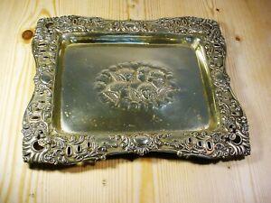 Antique Art Nouveau Silver Plate Cherubs / Putti Rectangular Tray