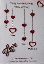 Personalised handmade birthday card husband boyfriend fiance partner wife love