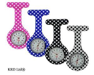 Silicone Nurse Fob Watch Polka Dot Pattern Brooch Tunic Watches