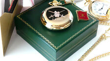 ARMY Pocket Watch and Lapel Pin Badge Crest 24k Gold Gift Set FREE ENGRAVING