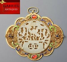 Precioso Blanco Natural Chino Antiguo incrustación de oro plata con colgante de jade