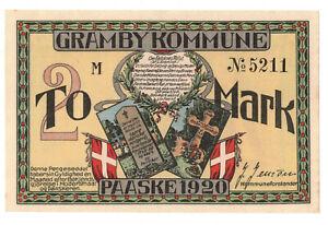 Notgeld Gramby Kommune 2 Mark Paaske 1920 Dänemark (A4032